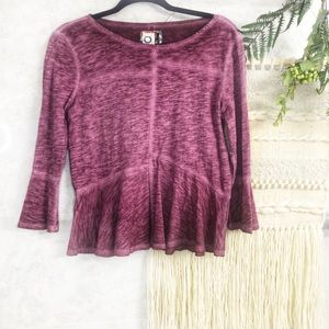 Anthro Akemi + Kin purple peplum top